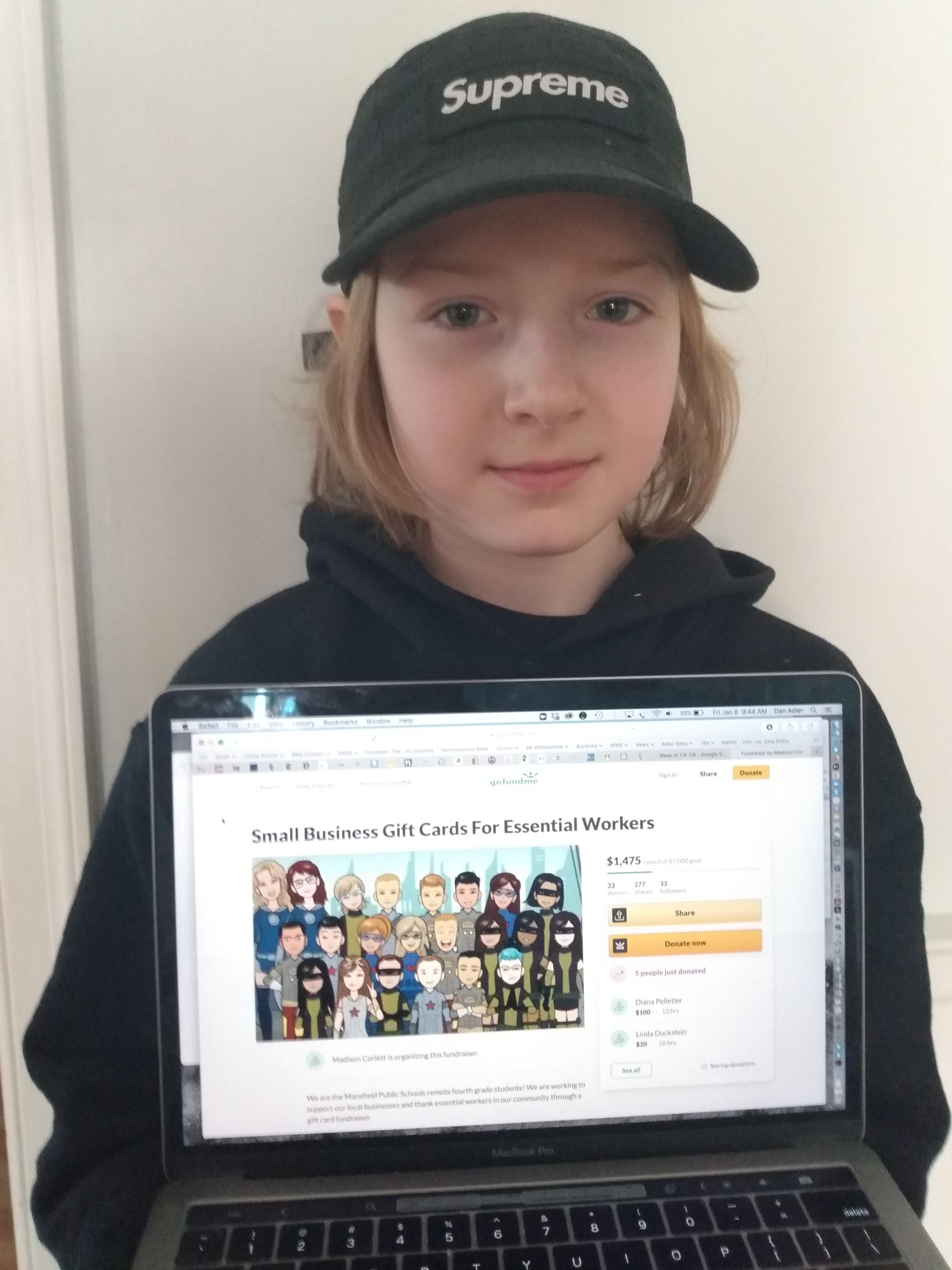 Grade 4 Student showing fundraising page