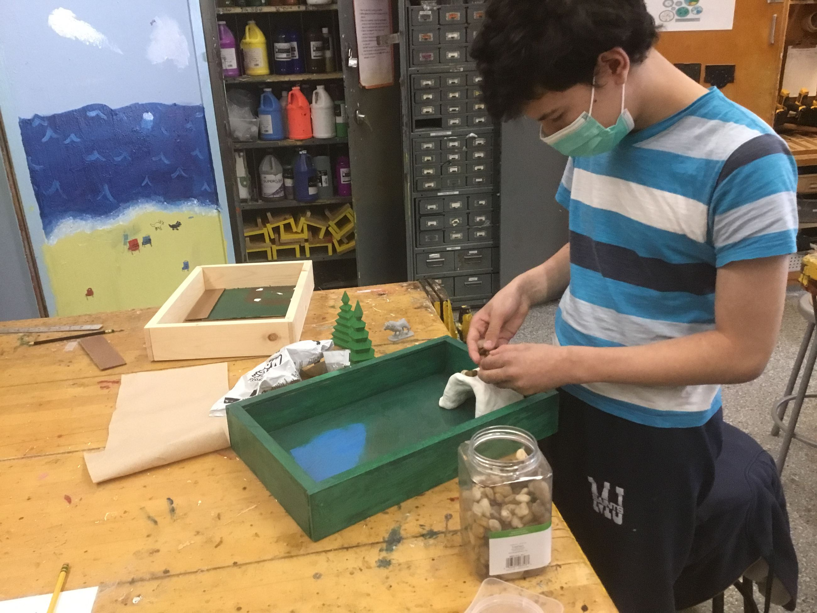 Student Nigel Correra creates a play box for K Students