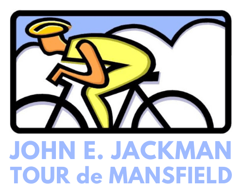 Cartoon of person riding a bicycle with text: John E. Jackman Tour de Mansfield