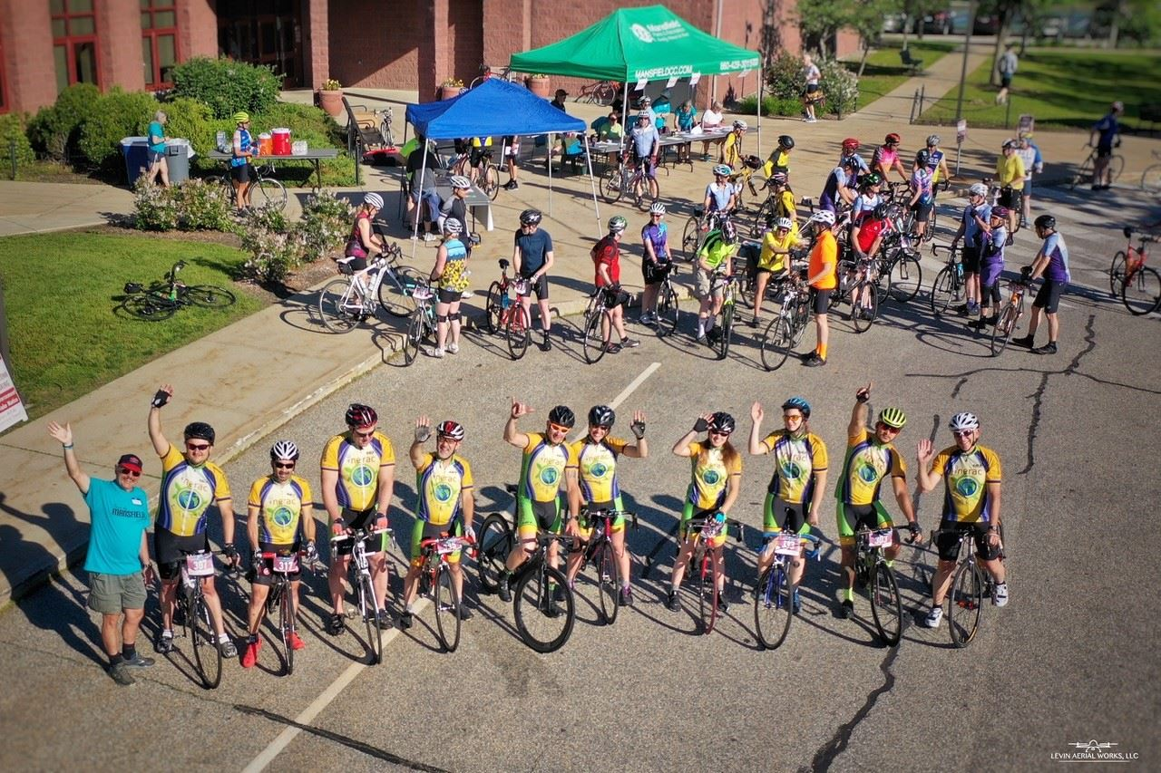 Cyclists gather for the annual John E. Jackman Tour de Mansfield bicycle ride.