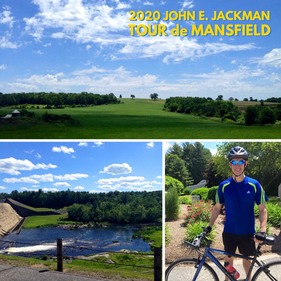Rolling hills, water below a dam, and a Tour de Mansfield participant with his bike