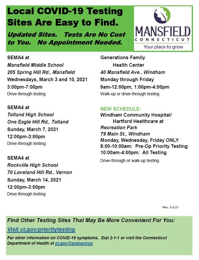 COVID Testing Sites Flyer Updated 3-2-21